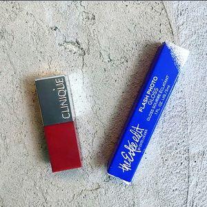 Clinique and Estée Lauder lipstick and gloss set